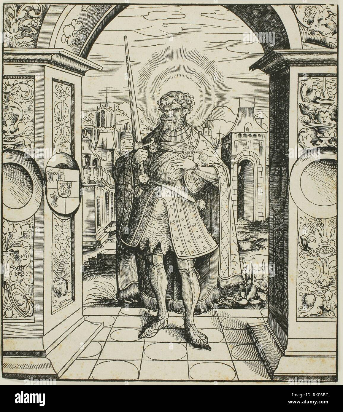Saint Rolandus, from Saints Connected with the House of Habsburg - 1516 - Leonhard Beck (German, c. 1480-1542) carved by Alexius Lindt (German, - Stock Image