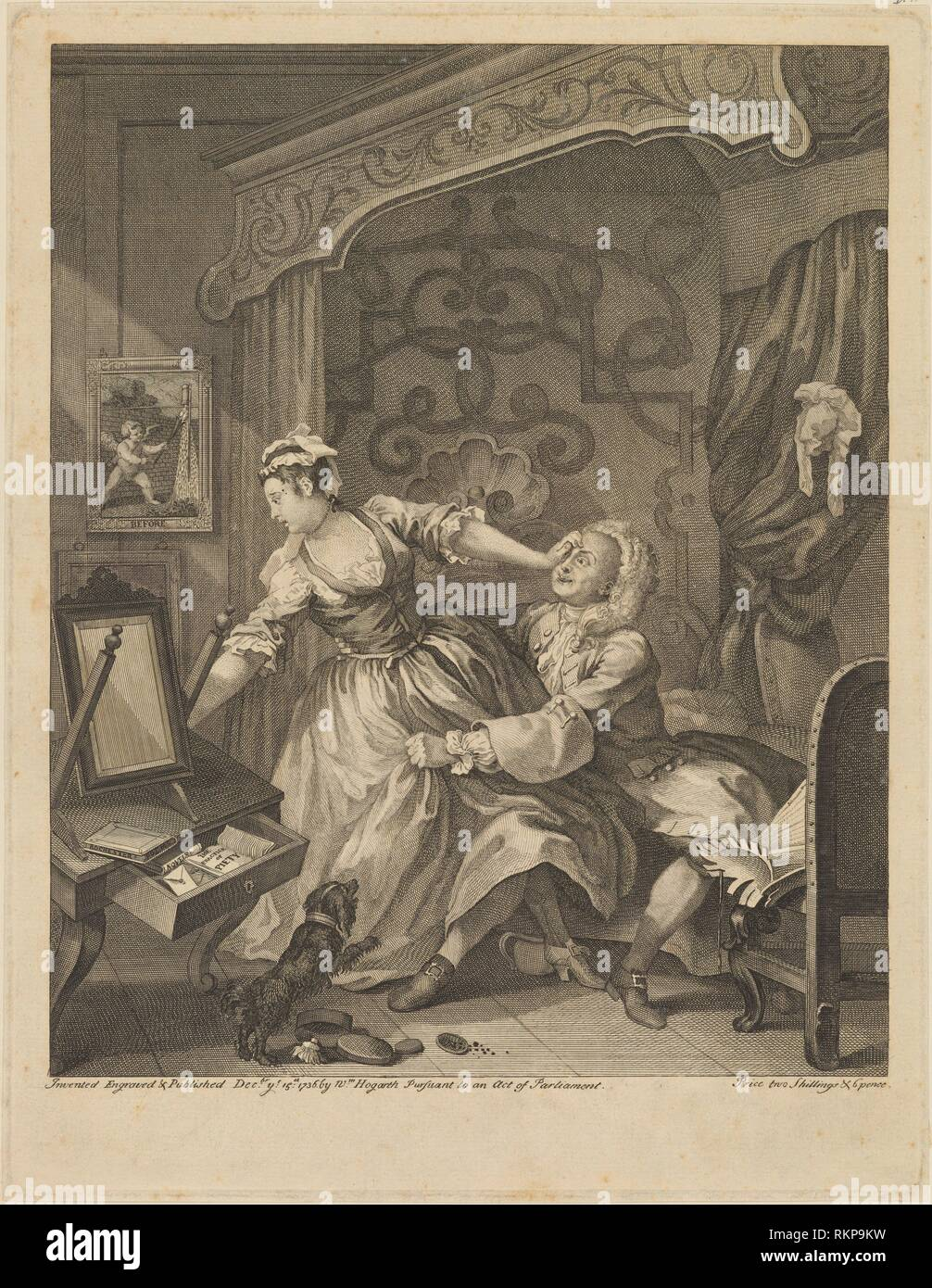 Before. Hogarth, William, 1697-1764 (Printmaker). William Hogarth: prints. Date Created: 1736. Prints. Still image. - Stock Image