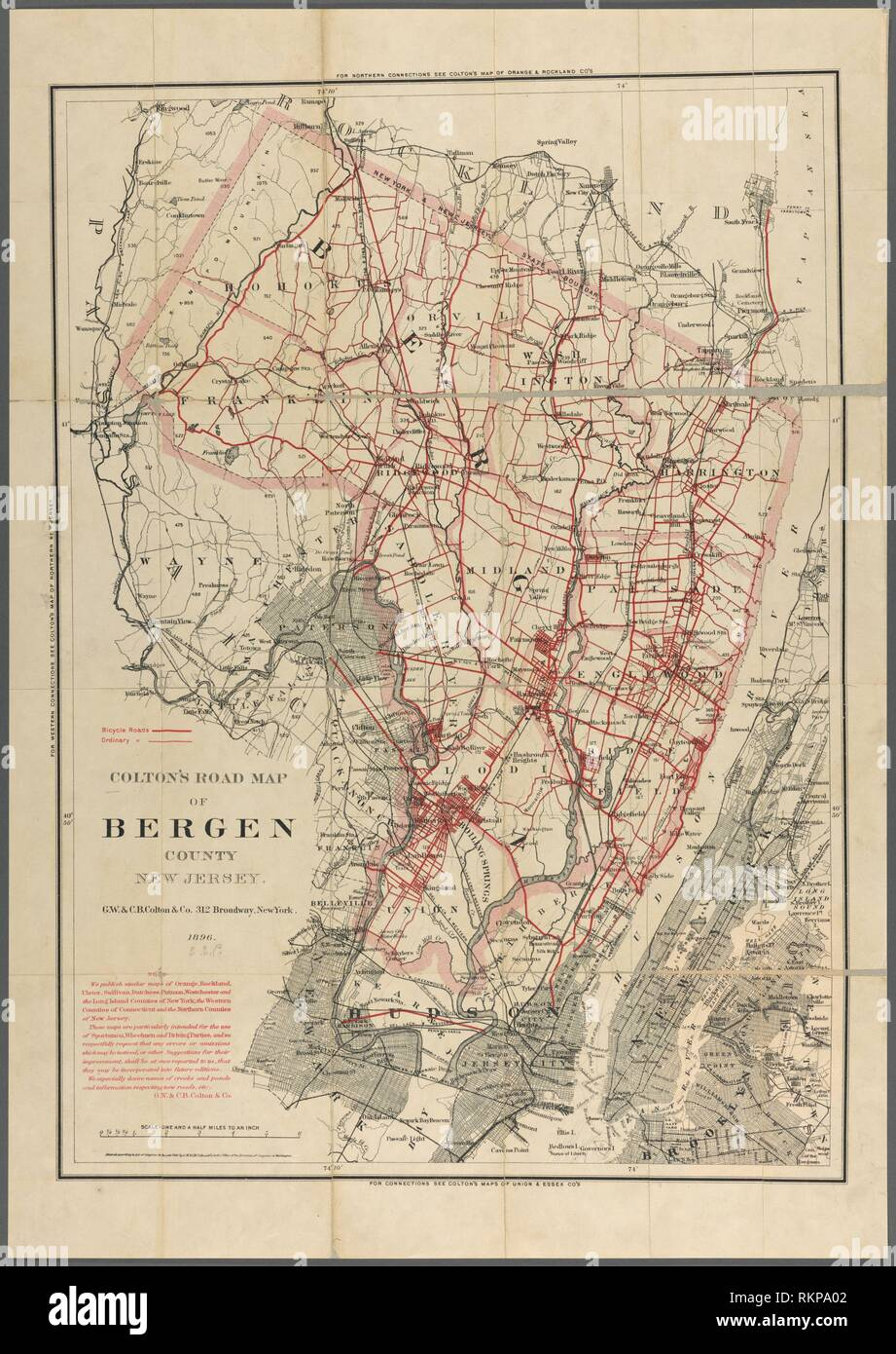 Colton\'s road map of Bergen County New Jersey Additional ...