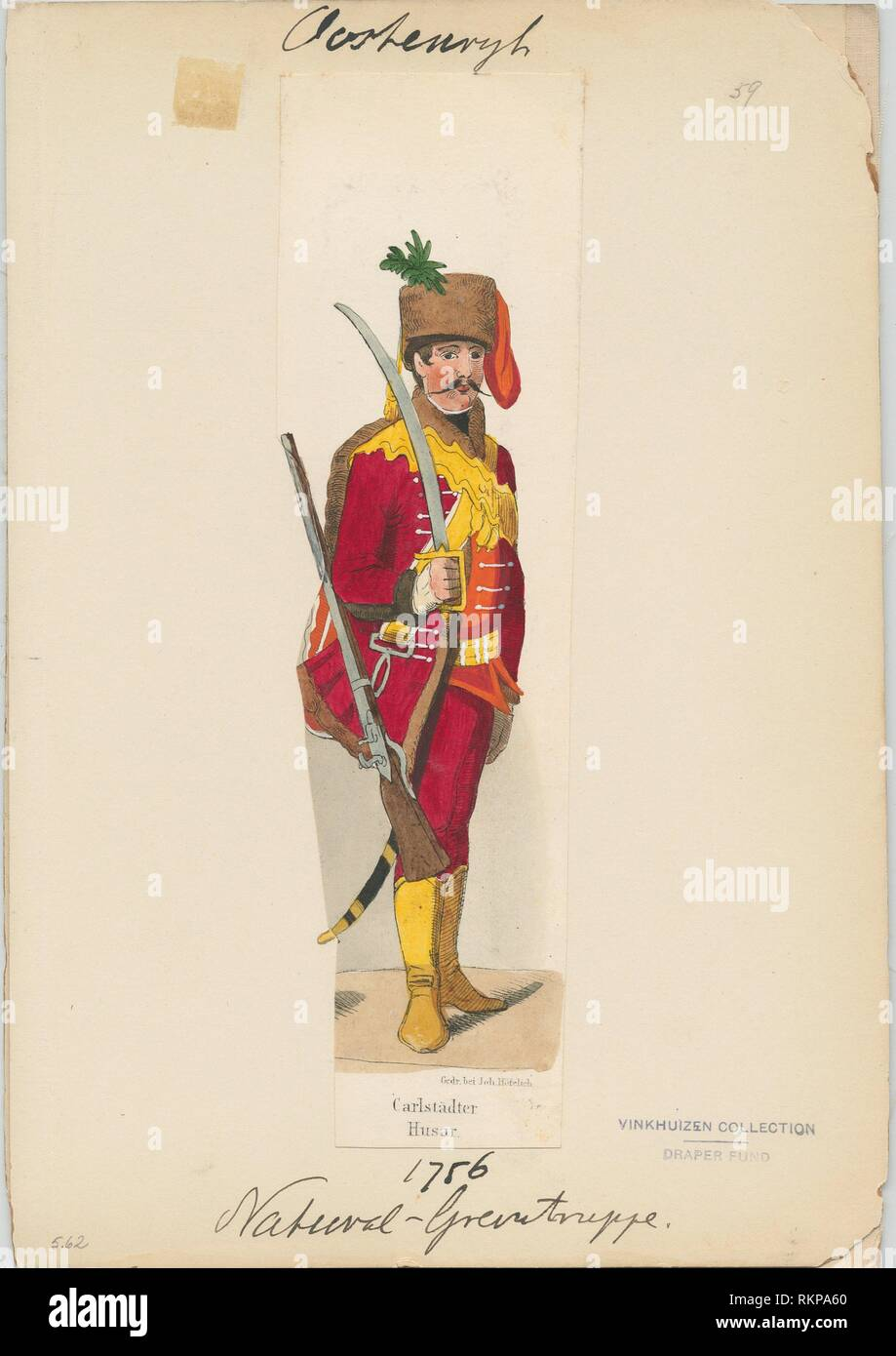 Carlstädter Husar. Vinkhuijzen, Hendrik Jacobus (Collector). The Vinkhuijzen collection of military uniforms Austria Austria, 1741-1756. Date - Stock Image