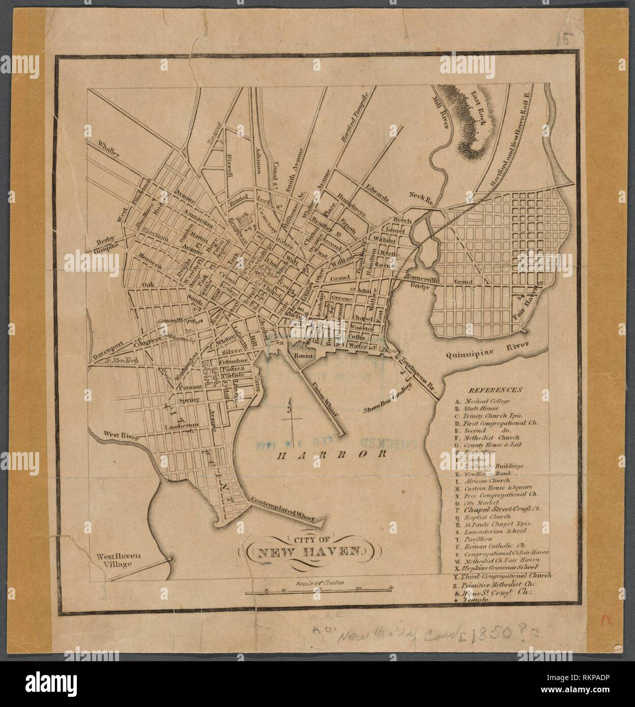 Map Of New York 1850.City Of New Haven Maps Of North America Countries United States