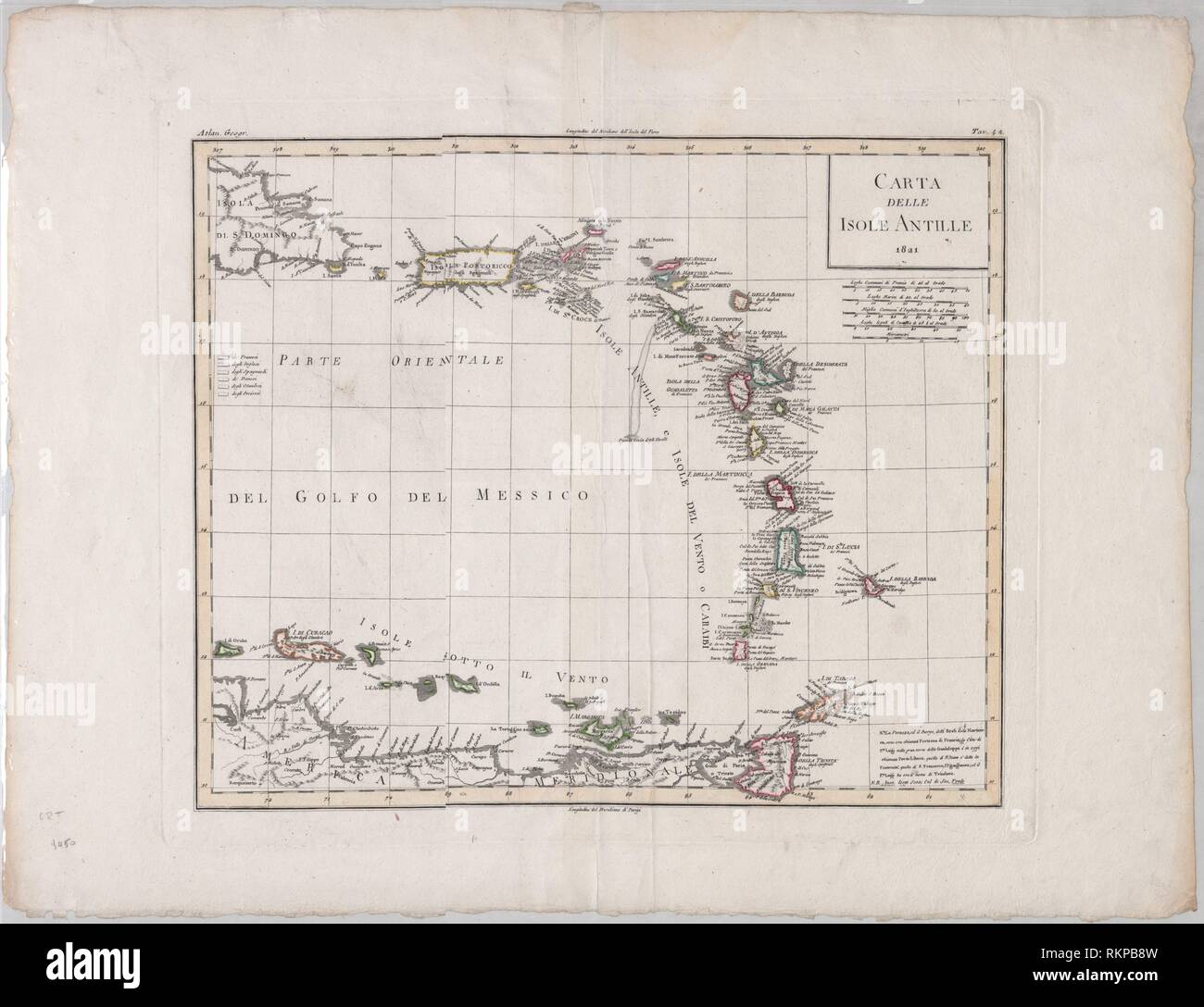 Carta delle Isole Antille. Date Issued: 1821. West Indies - Maps Antilles, Greater - Maps Antilles, Lesser - Maps. Maps. 1 map Hand col., Extent: 39 Stock Photo