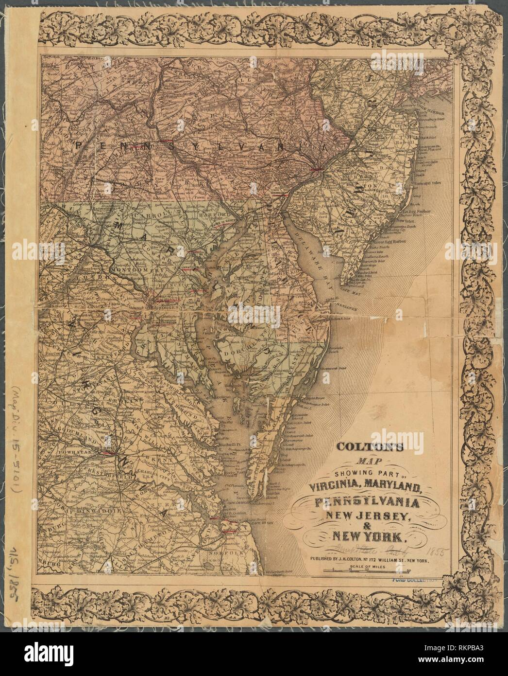 Map Of New York In 1800.Colton S Map Showing Part Of Virginia Maryland Pennsylvania New
