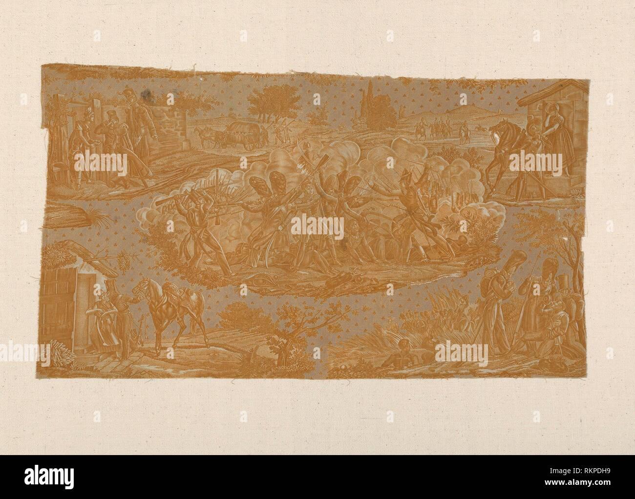 Cambronne at Waterloo (Furnishing Fabric) - 1820/25 - Manufactured by Hartmann et Fils France, Alsace, Munster - Artist: Hartmann et Fils, Origin: - Stock Image