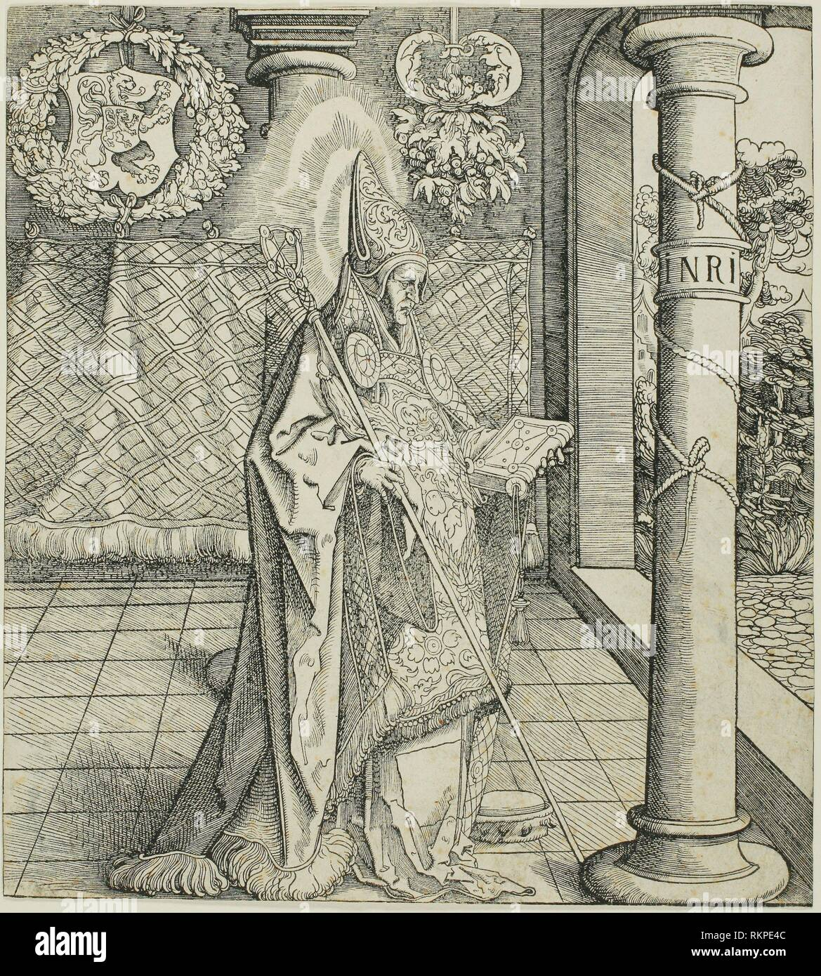Saint Emesbertus, from Saints Connected with the House of Habsburg - 1522/1551 - Leonhard Beck (German, c. 1480-1542) carved by Wolfgang Resch - Stock Image