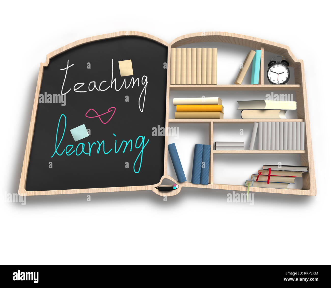 Bookshelf with blackboard in book shape isolated in white background - Stock Image