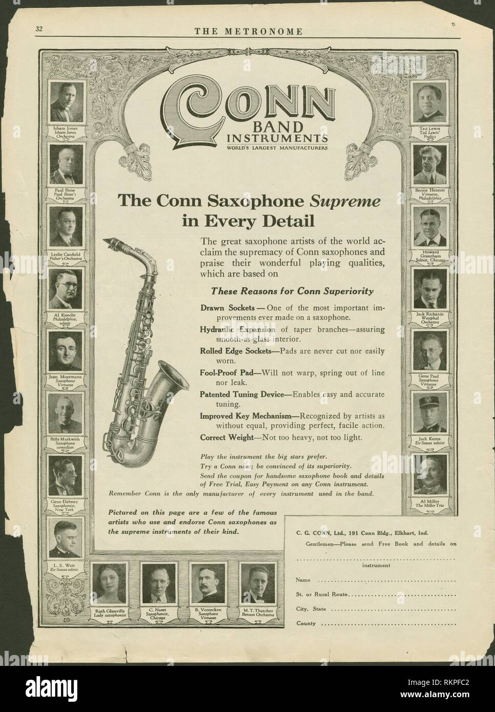 Conn Band Instruments - world's largest manufacturers. The Metronome The metronome, Vol. 40, 1924. Date Issued: 1924-02. Music Bands (Music) Brass - Stock Image
