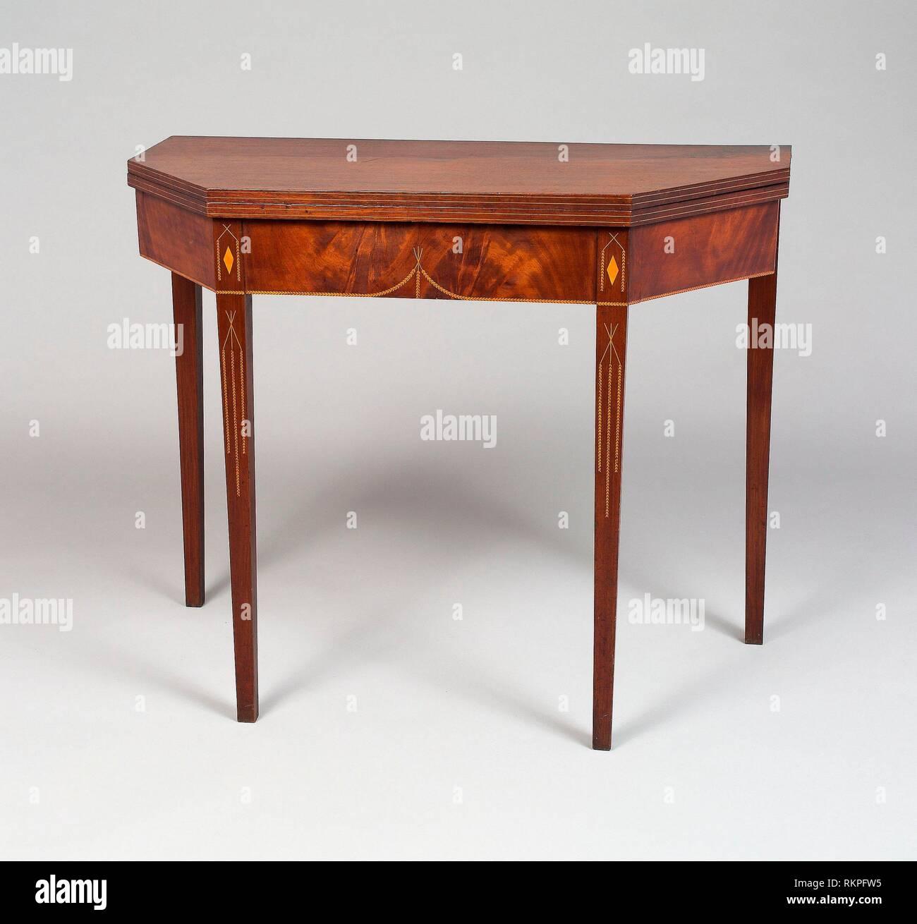 Card Table - c. 1790 - American Newport, Rhode Island - Artist: Holmes Weaver, Origin: Newport, Date: 1785–1795, Medium: Mahogany and white pine with Stock Photo