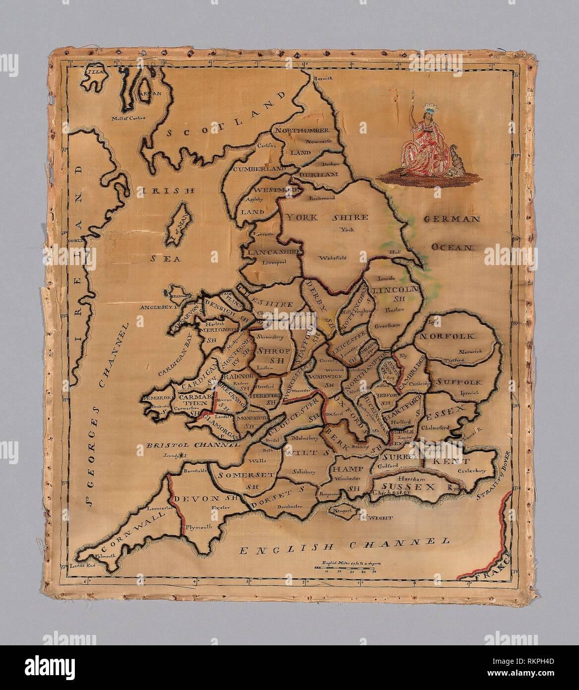 Map Of England 1800.Sampler Map C 1800 England Origin England Date 1790 1810