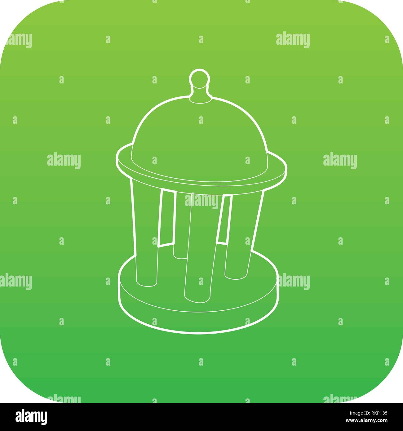 Rotunda icon green vector - Stock Vector