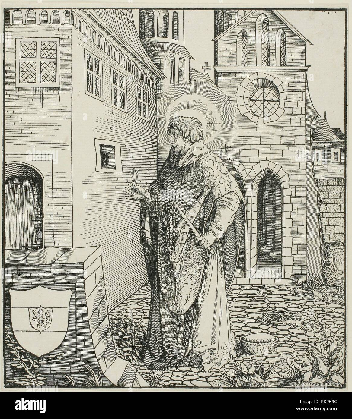 Saint Ferreolus, from Saints Connected with the House of Habsburg - 1517 - Leonhard Beck (German, c. 1480-1542) carved by Hans Franck (German, c. - Stock Image