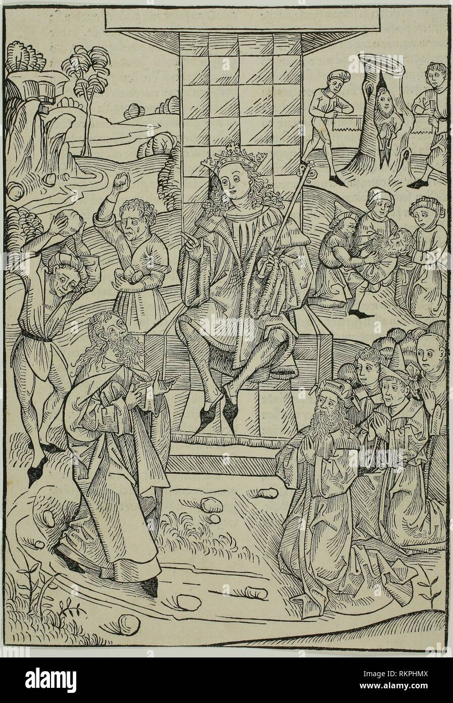The Stoning of Zacharias and Isaias, page 9 from the Treasury (Schatzbehalter) - 1491 - Michael Wolgemut and Workshop (German, 1434/37–1519) - Stock Image