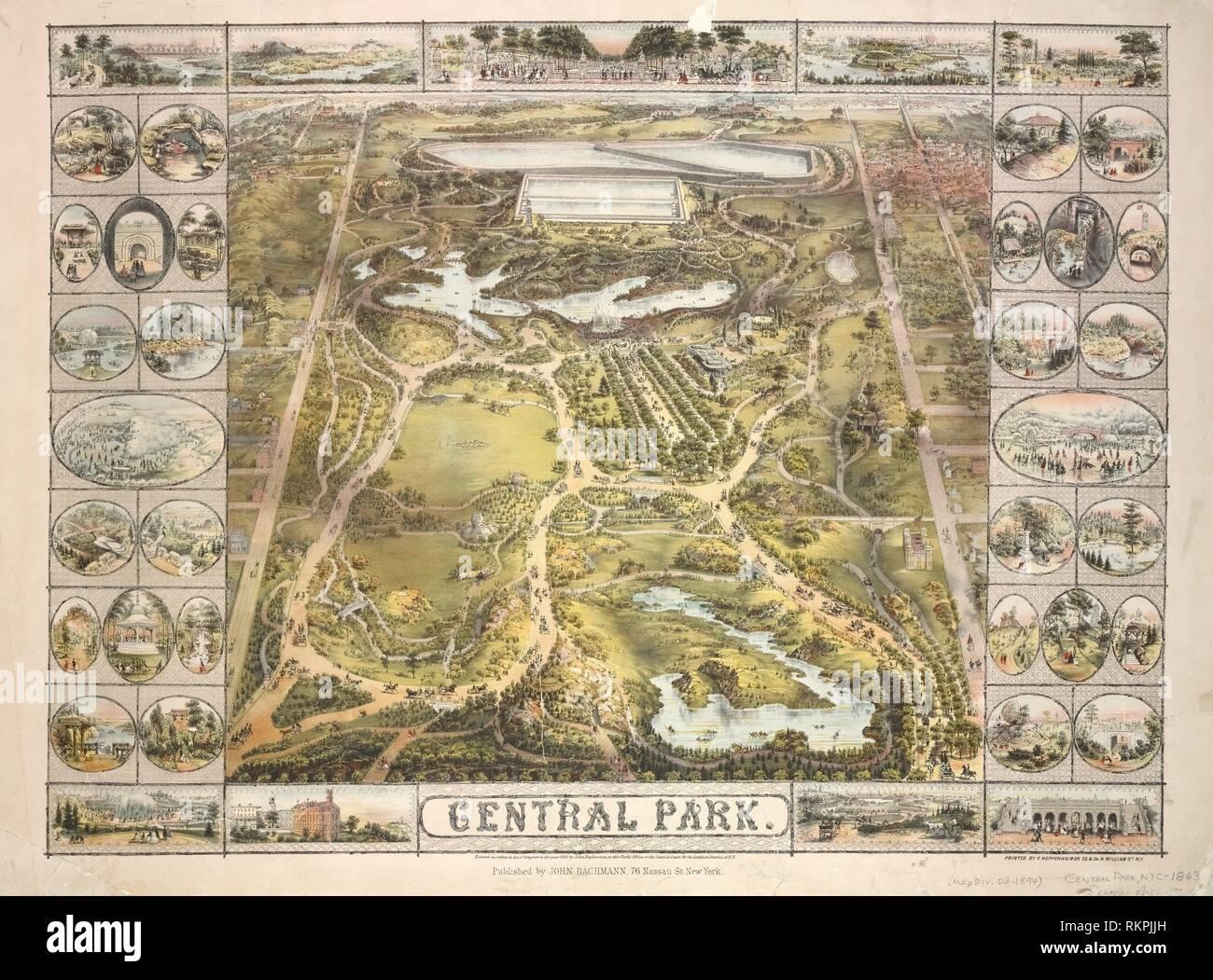 Map Of New York City Manhattan.Central Park Bachmann John Publisher Heppenheimer Frederick D