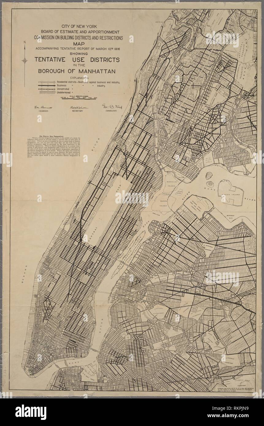 Commision on building districts & restrictions map accompanying tentative report of March 10, 1916, showing tentative use districts in the Borough of - Stock Image