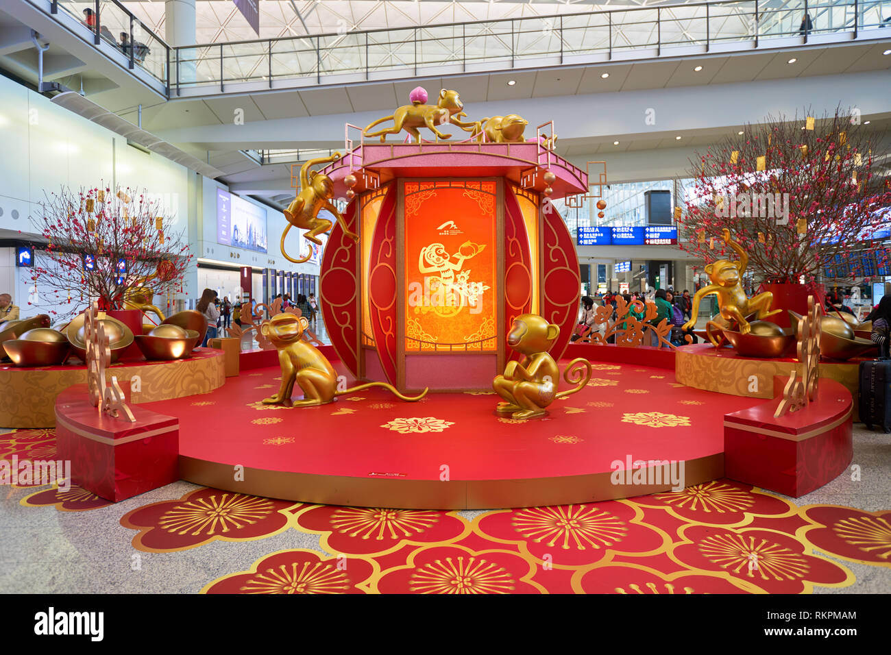 HONG KONG - 29 JANUARY, 2016: Chinese New Year decorations at Hong Kong International Airport. Hong Kong International Airport is the main airport in  - Stock Image