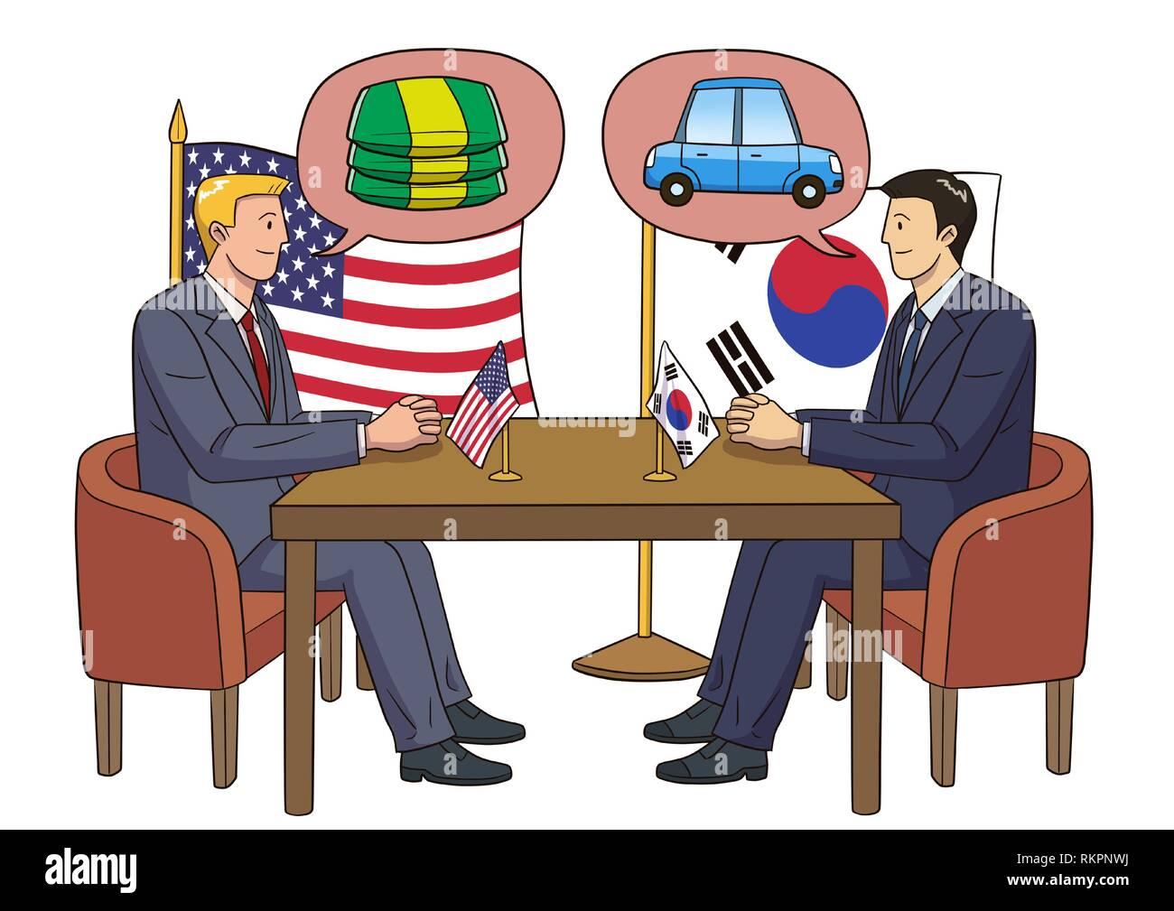 Diplomacy and trade War, international trade concept vector illustration 013 - Stock Image