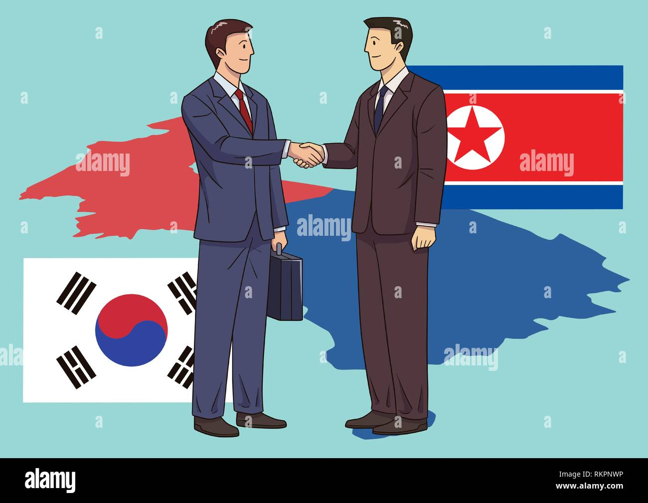 Diplomacy and trade War, international trade concept vector illustration 010 - Stock Image