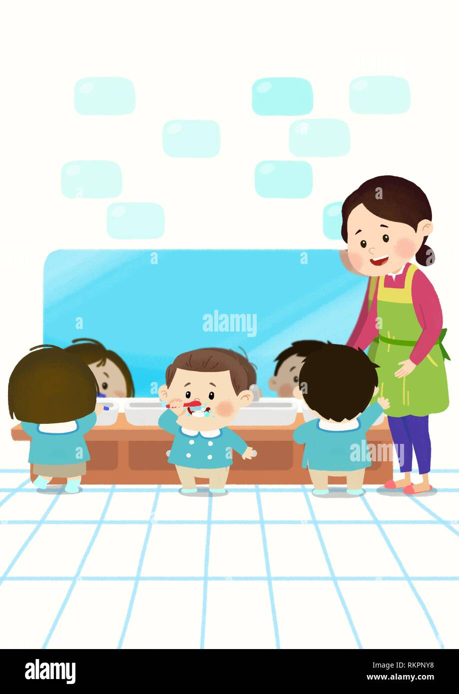Preschool Kids daily life vector illustration 012 - Stock Vector