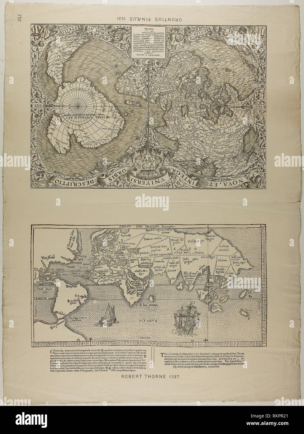 Orontius Finaeus - 1531, reprinted 1889 - Unknown Artist (English, 19th century) after a map by Robert Thorne (English, active 1527) - Artist: Robert - Stock Image