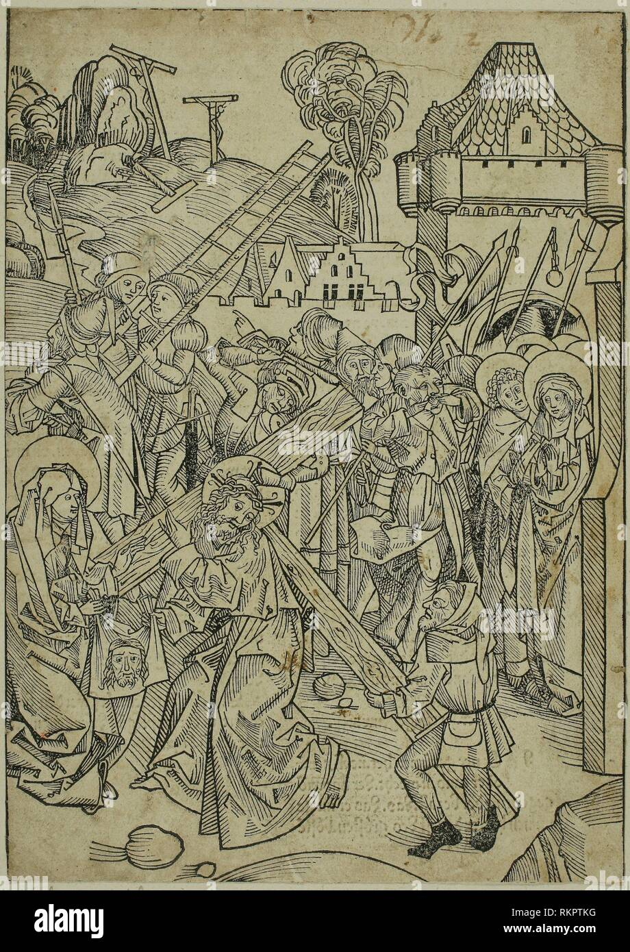 Christ Bearing the Cross, page 81, from the Treasury (Schatzbehalter) - 1491 - Michael Wolgemut and Workshop (German, 1434/37–1519) published by - Stock Image
