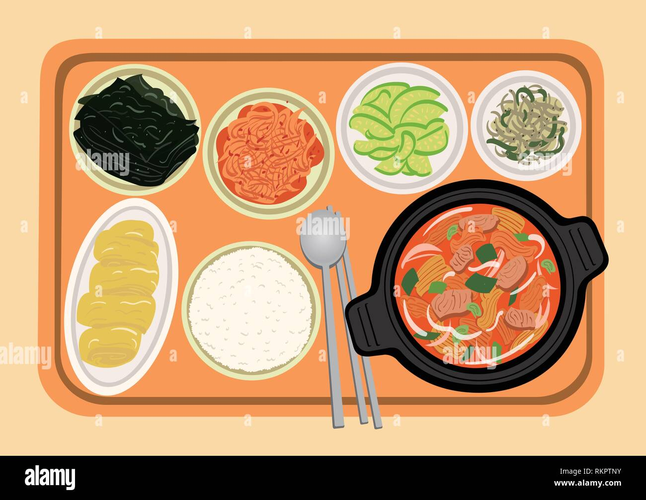 Vector - food illustration, Korean cuisine flat vector collection of dishes 001 - Stock Vector