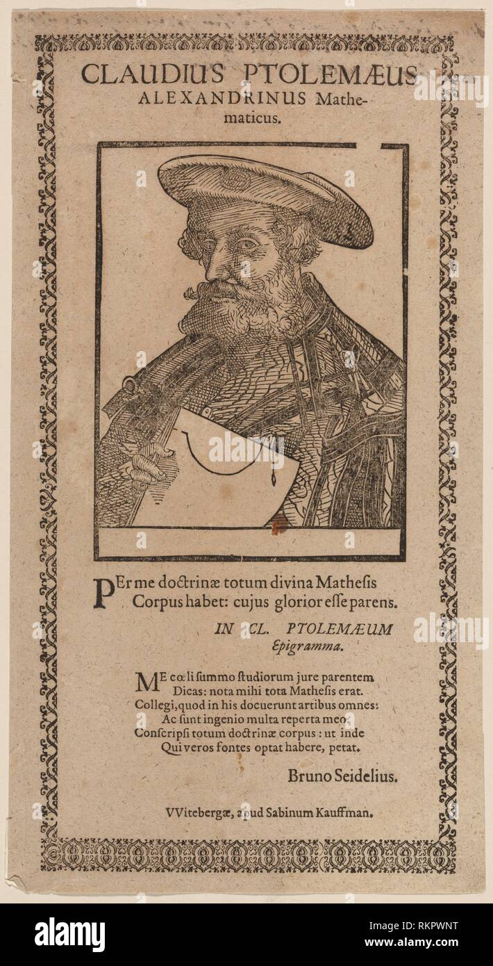 Claudius Ptolemaeus Alexandrinus Mathematicus. Anonymous (Printmaker). German master prints. Date Created: 1501 - 1600 (Approximate). Prints. - Stock Image