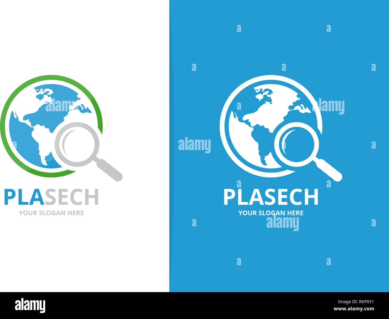 Vector world and loupe logo combination. Unique globe and search logotype design template. - Stock Vector