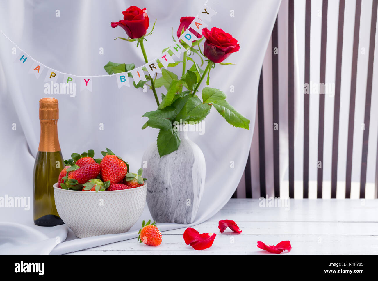 Red Rose Strawberries And Champagne Happy Birthday Set