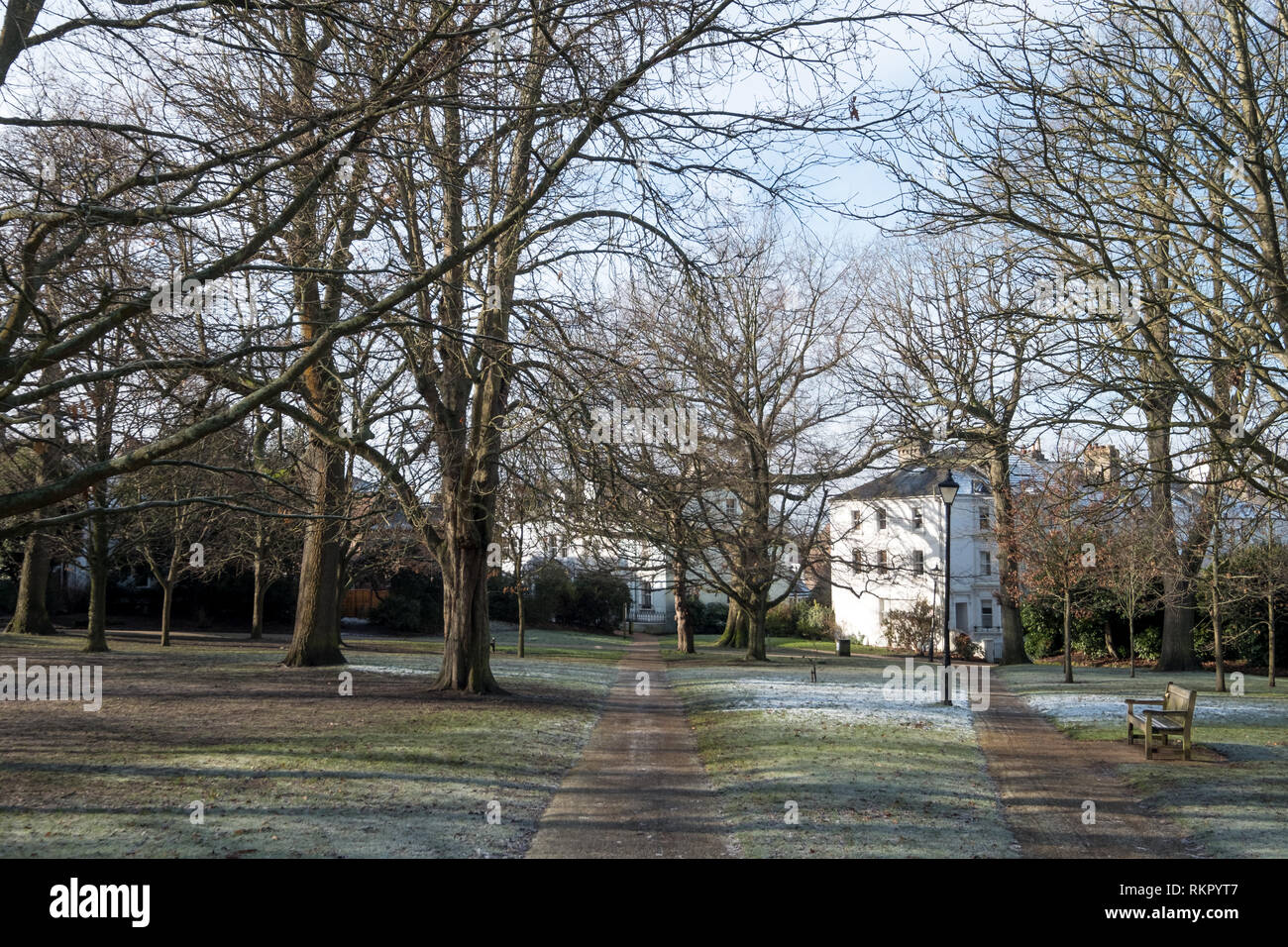 The Grove, Royal Tunbridge Wells, Kent UK. Photographed on an icy winter's day when there was frost on the ground. - Stock Image