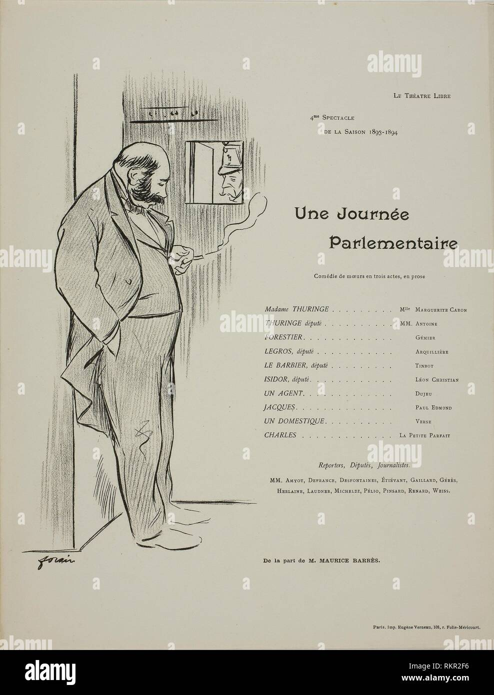Theater Program for Une Journee Parlementaire - 1893–94 - Jean Louis Forain French, 1852-1931 - Artist: Jean Louis Forain, Origin: France, Date: - Stock Image