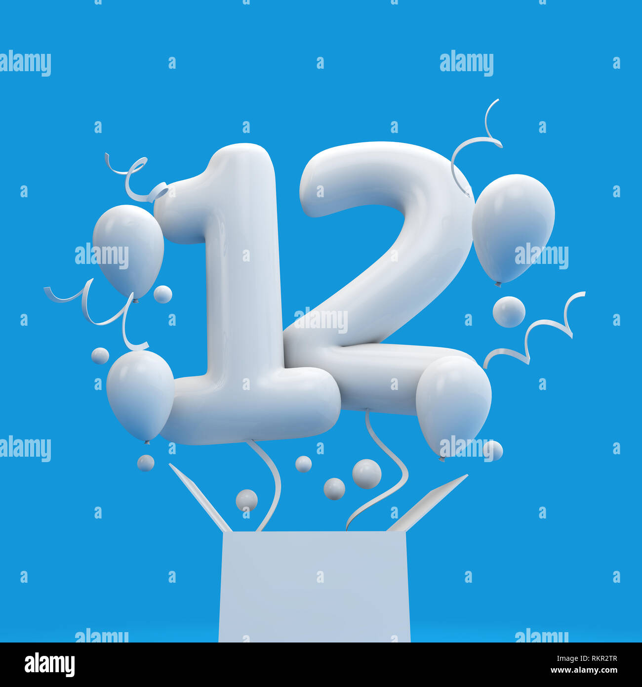 Happy 12th Birthday Surprise Balloon And Box 3D Rendering