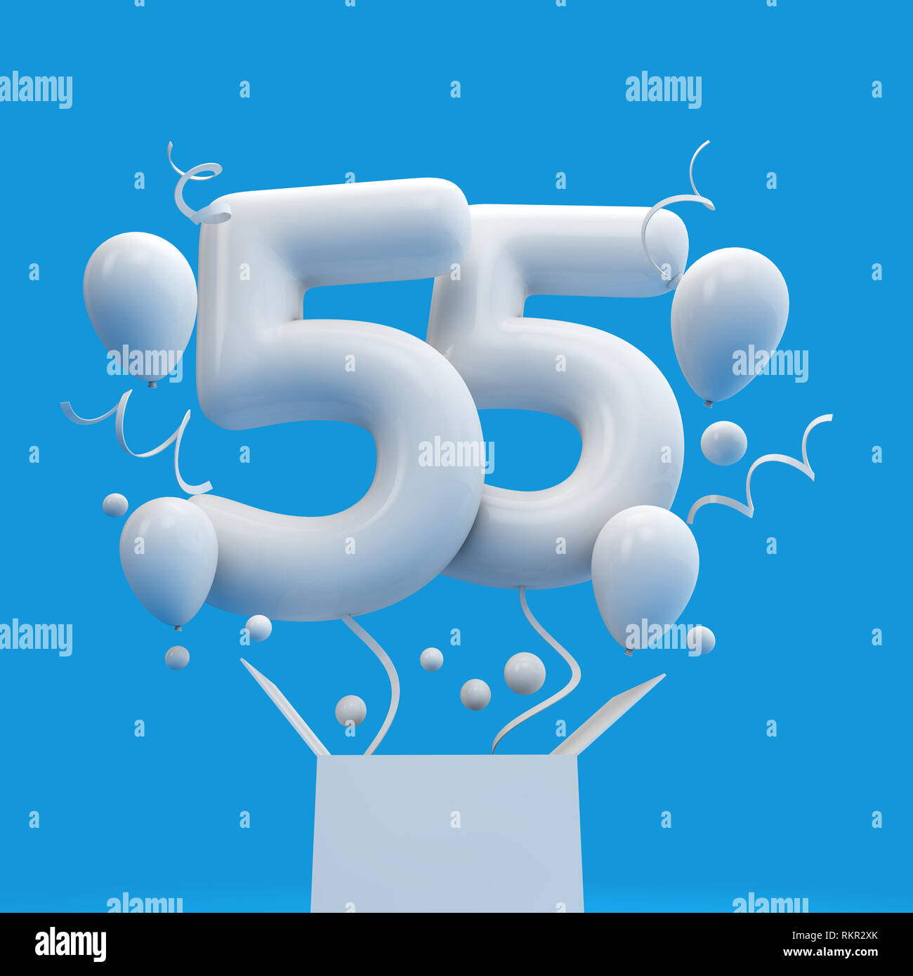 Happy 55th Birthday Surprise Balloon And Box 3D Rendering