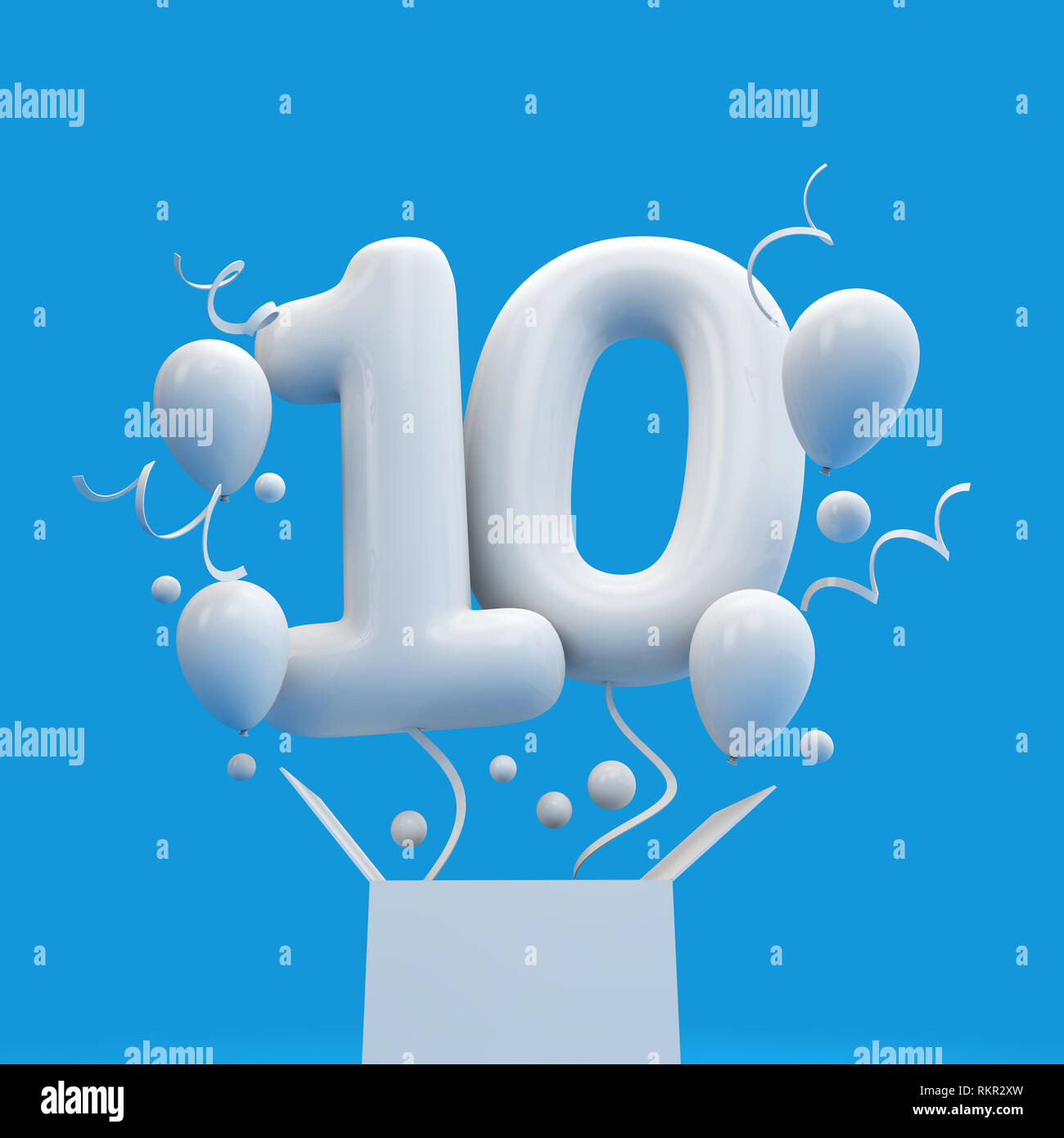 Happy 10th Birthday Surprise Balloon And Box 3D Rendering