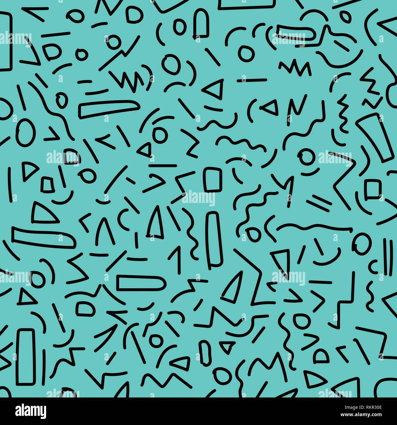 Hand draw black geometric memphis pattern 80's-90's styles