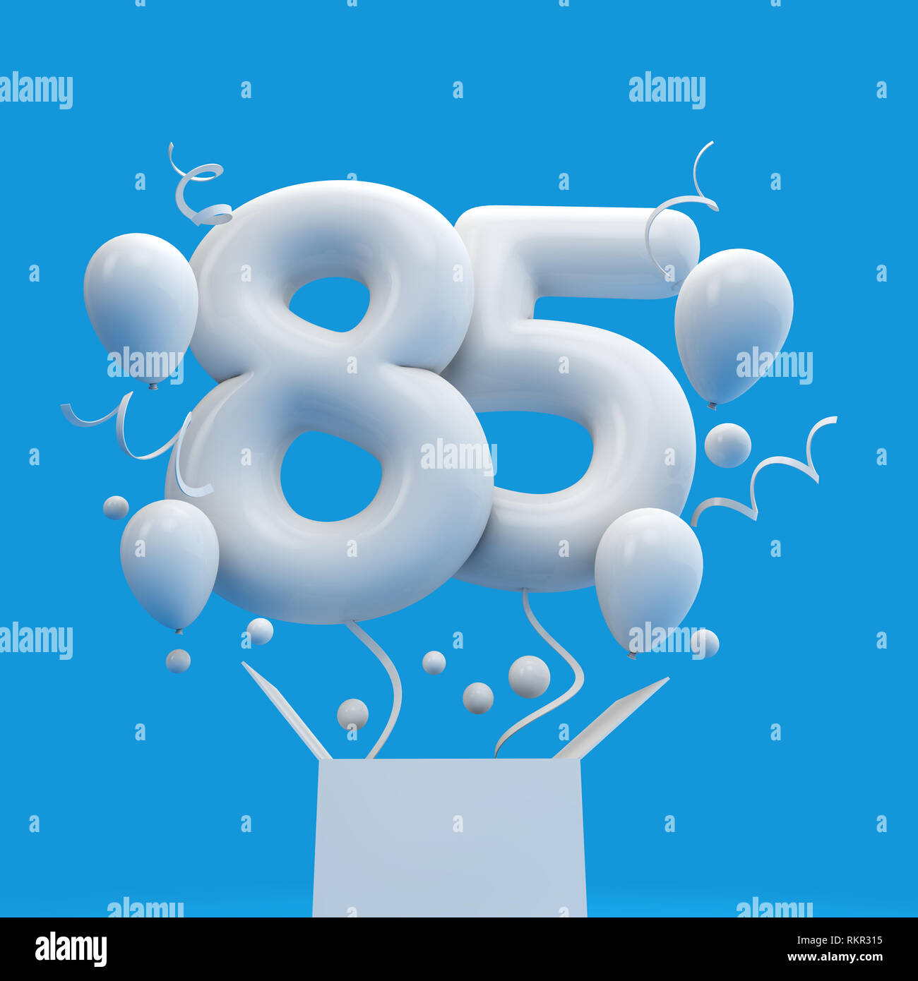 Happy 85th Birthday Surprise Balloon And Box 3D Rendering