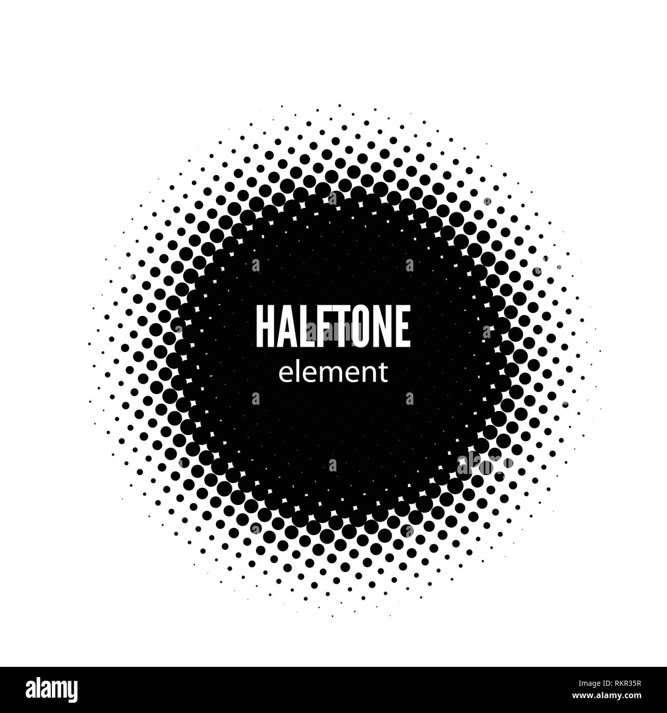 abstract halftone vector design element. Black dots frame Stock Vector