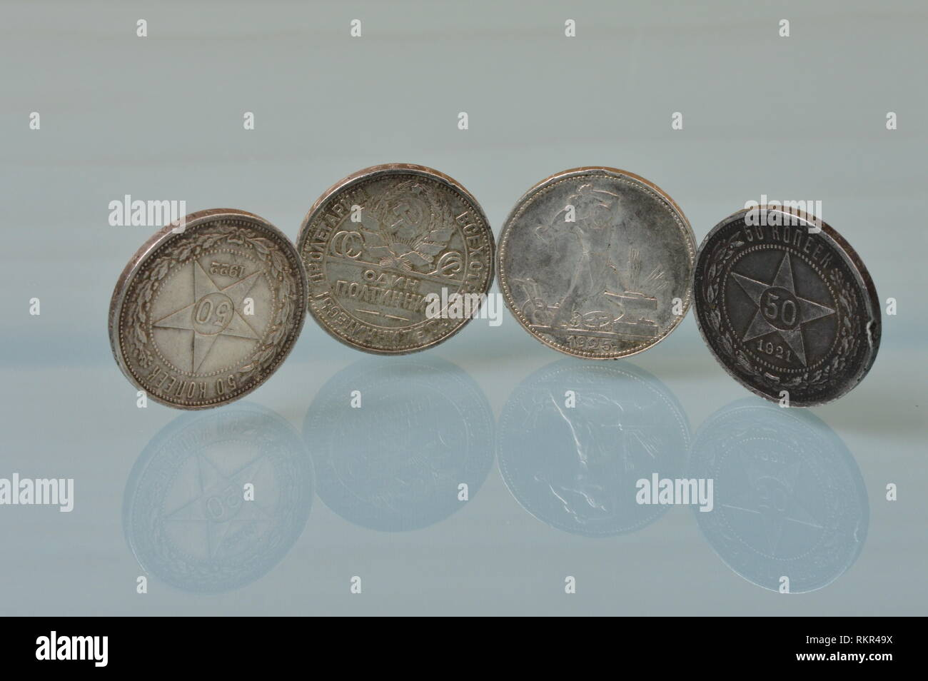 Silver coins fifty kopecks art of the proletariat minted from 1921 to 1925 the Soviet Union Stock Photo