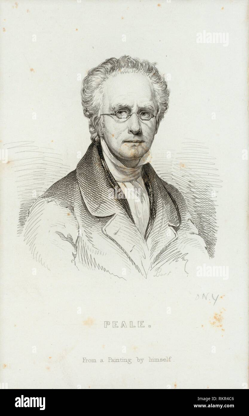 Charles Willson Peale. Peale, Charles Willson (1741-1827) (Artist) Burt, Charles Kennedy (1823-1892) (Etcher). Emmet Collection of Manuscripts Etc. - Stock Image