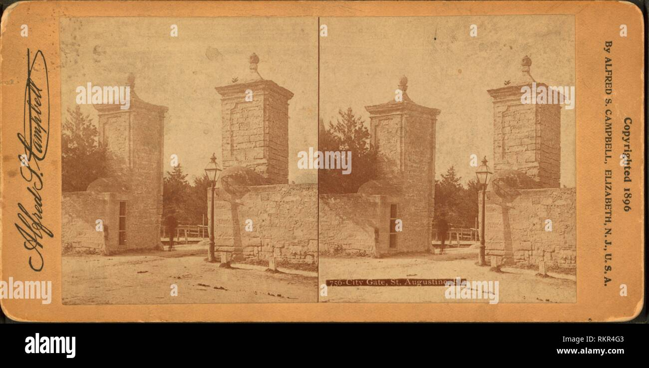 City gate. St. Augustine, Fla. Additional title: Around the world free with a stereoscope, no. 756. Robert N. Dennis collection of stereoscopic views Stock Photo