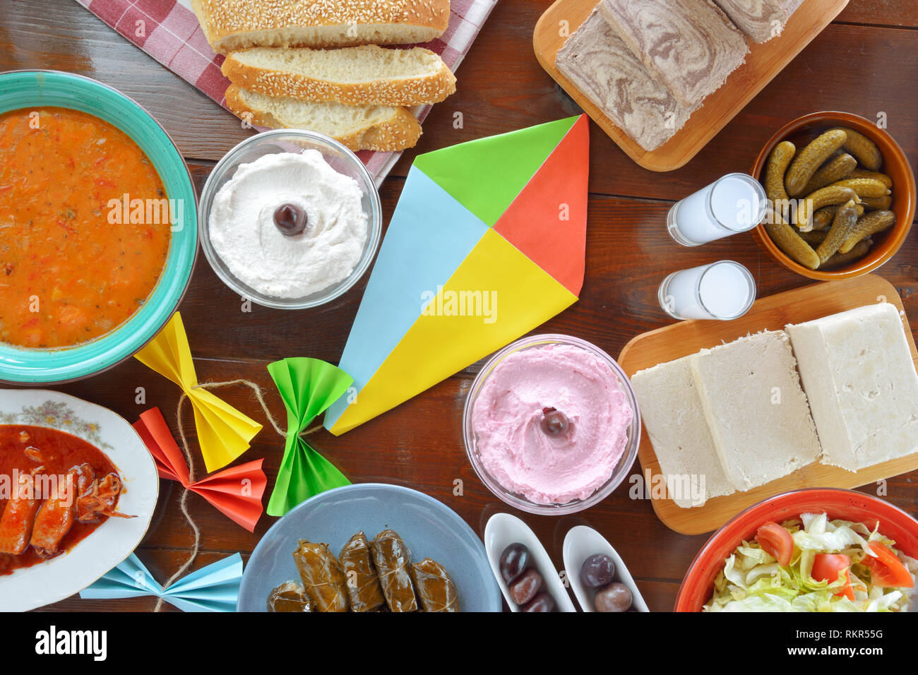 Concept for Clean Monday with fasting food and a kite - Stock Image