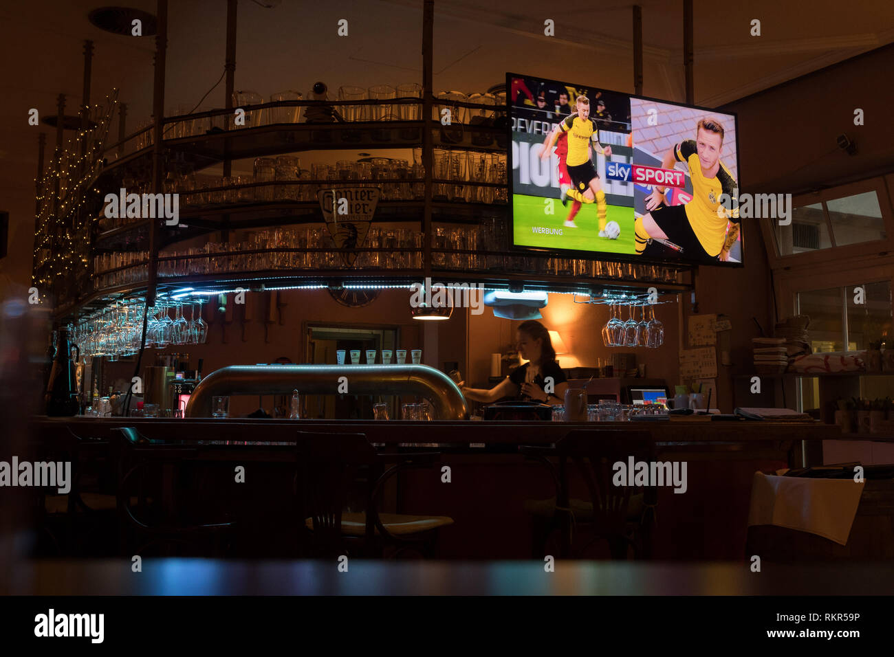 sky sports on tv in German bar - Harmonie - Freiburg im Breisgau - Stock Image