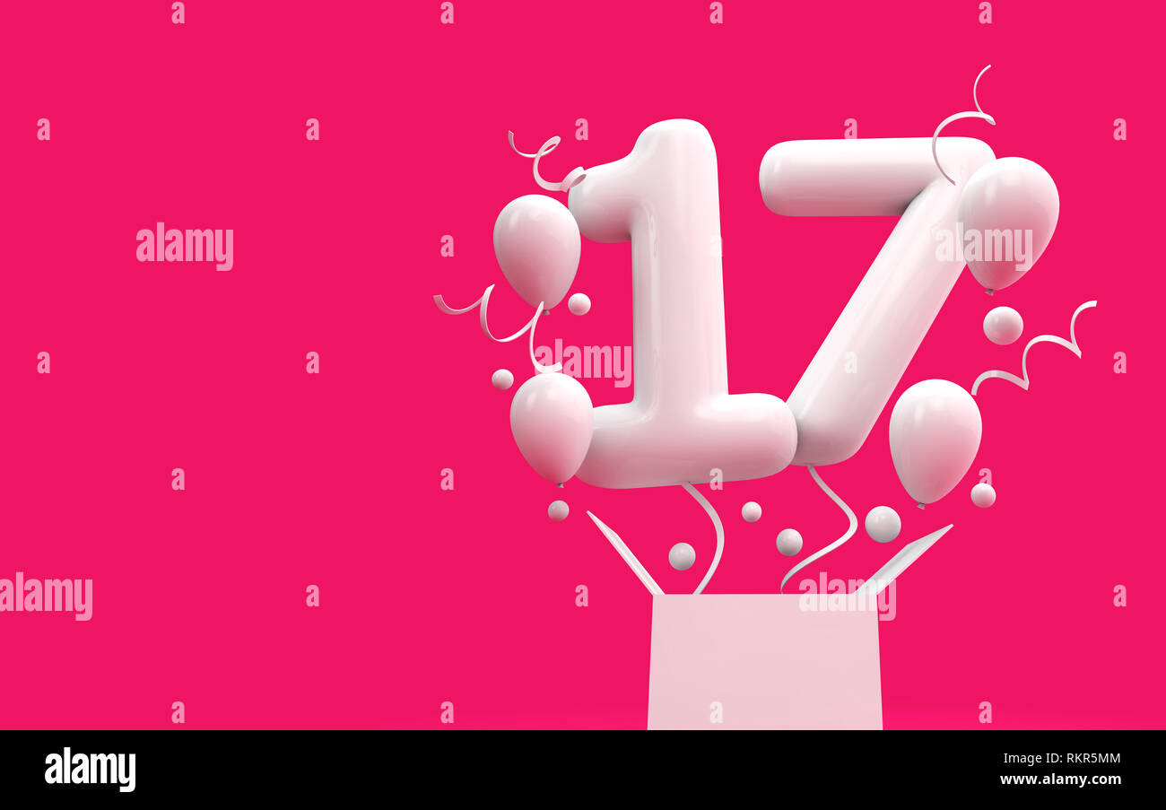 Happy 17th Birthday Surprise Balloon And Box 3d Rendering Stock
