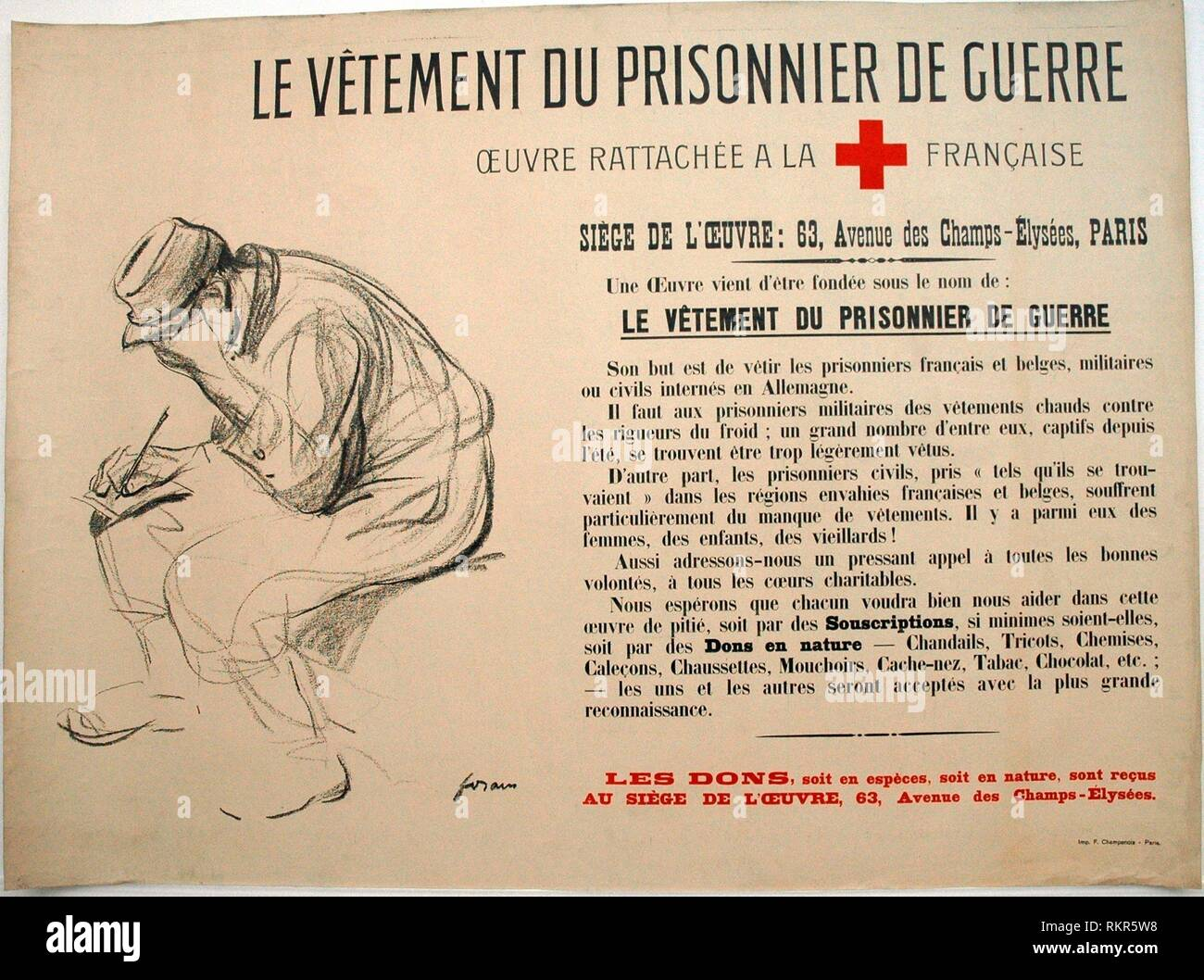 The Clothing of the Prisoner of War - c. 1915 - Jean Louis Forain (French, 1852-1931) Printed by F. Champenois - Artist: Jean Louis Forain, Origin: - Stock Image