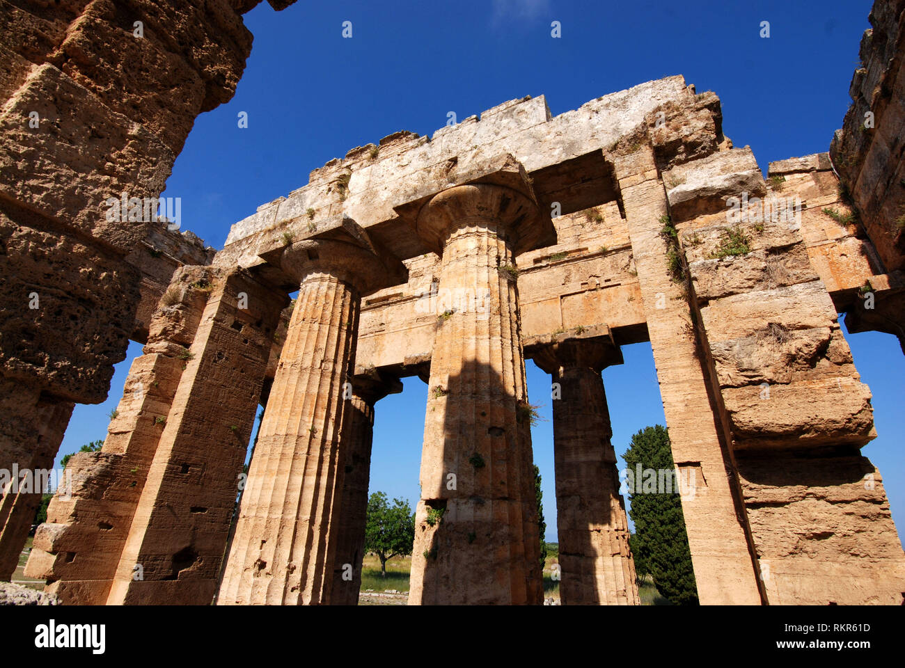 temple of neptune in archaeological site of Paestum great greece salerno italy 2018 - Stock Image