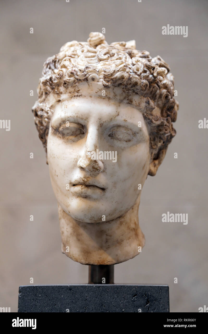 Marble head of an athlete. Roman imperial era. ca. 138-92 AD. Copy of a Greek statue, 5th BCE. The Met. NY. - Stock Image