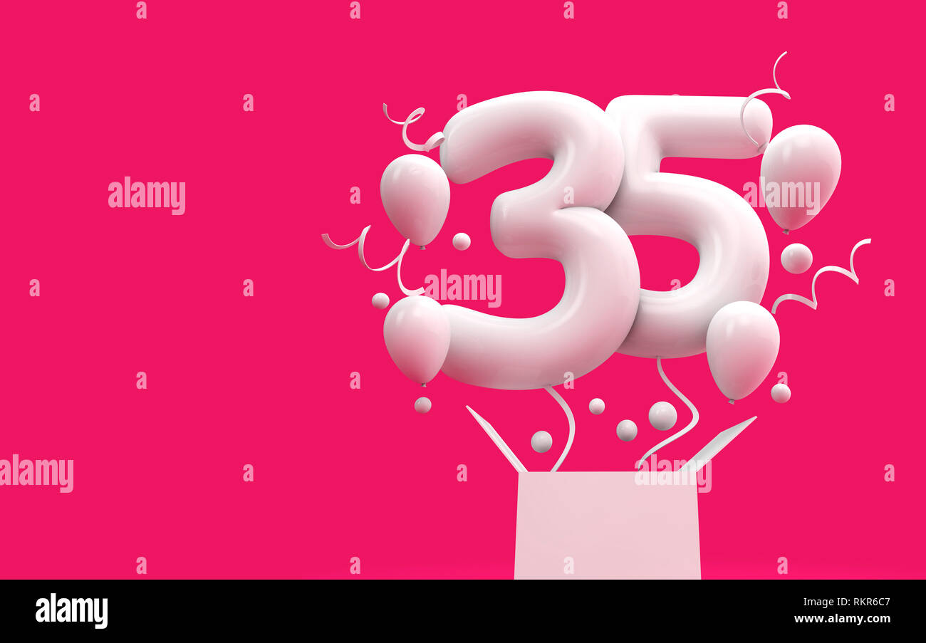 Happy 35th Birthday Surprise Balloon And Box 3D Rendering