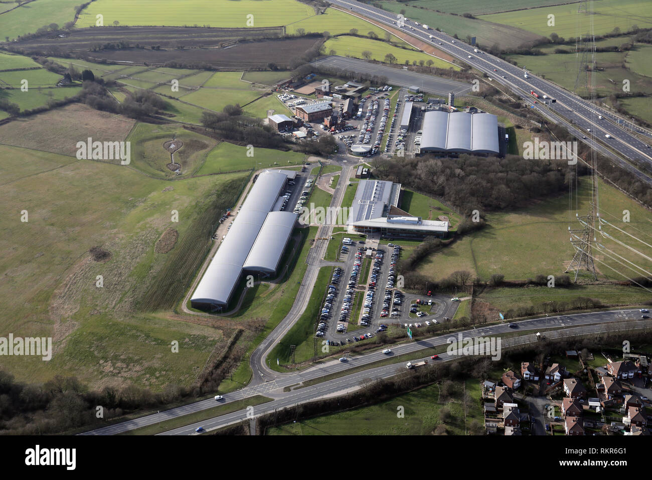 aerial view of West Yorkshire Police Training & Development Centre at Carr Gate, Wakefield - Stock Image