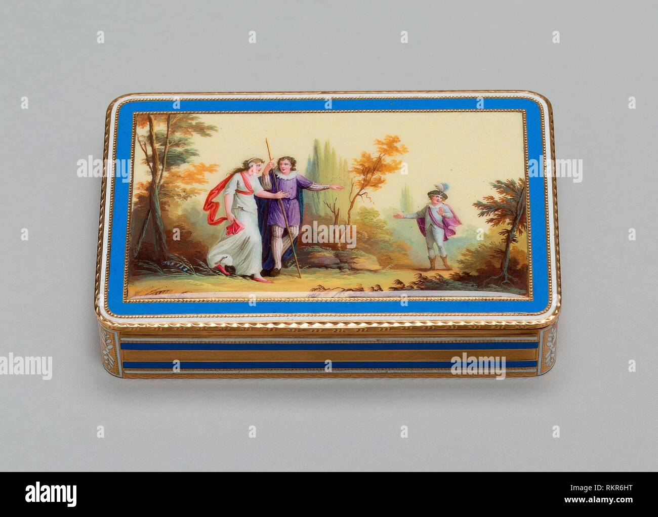 Snuff Box - About 1800/10 - Possibly Switzerland - Origin: Switzerland, Date: 1795-1815, Medium: Gold and enamel, Dimensions: 1.8 x 8.7 x 5.7 cm Stock Photo
