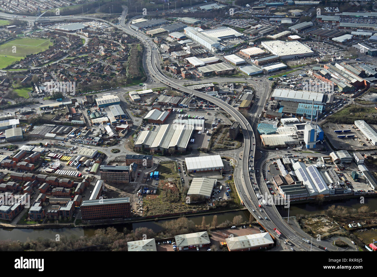aerial view of the windy A61 road across south Leeds through Hunslet - Stock Image