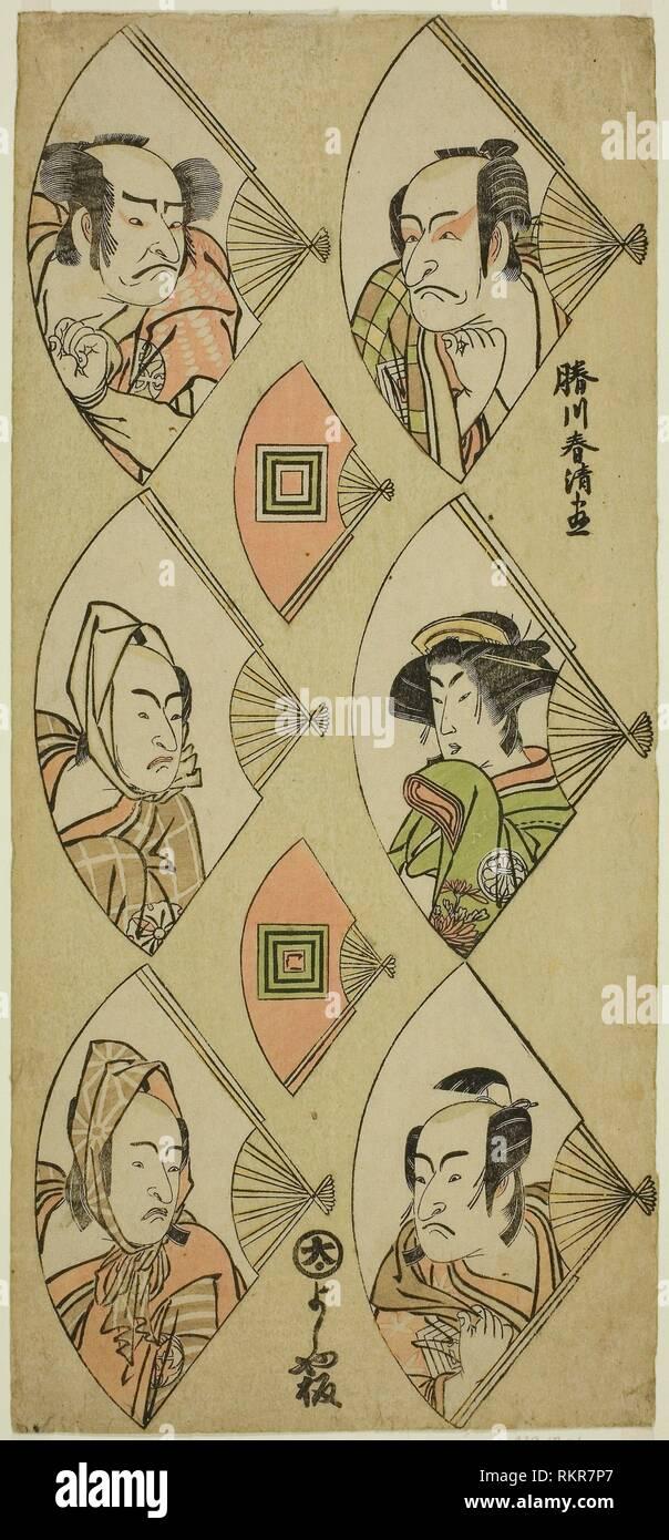 Bust Portraits of Actors in Folding Fans: Ichikawa Danjuro V, Segawa Kikunojo III, Ichikawa Monnosuke II (right, top to bottom); Nakamura Nakazo I, - Stock Image